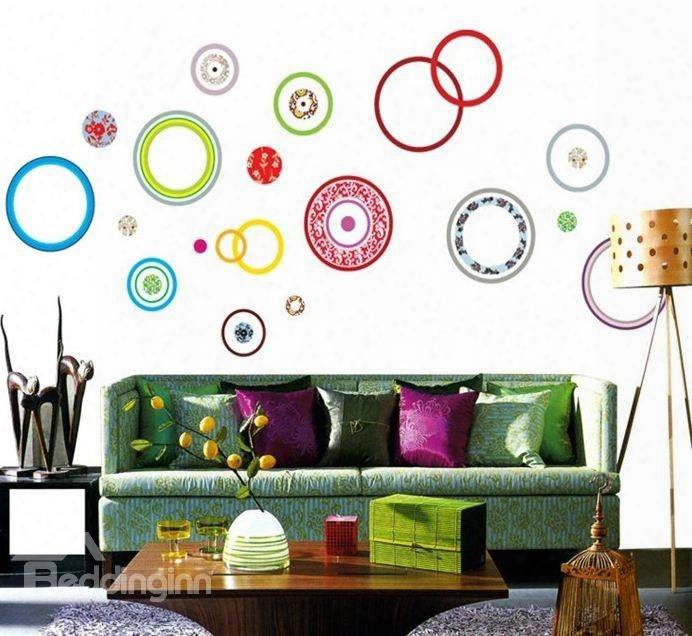 Colorful Bubble Print Removable Hom E Decorative Wall Stickers