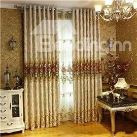 European Retro Style Embroidered Flowers Chenille Custom Living Room Sheer Curtain