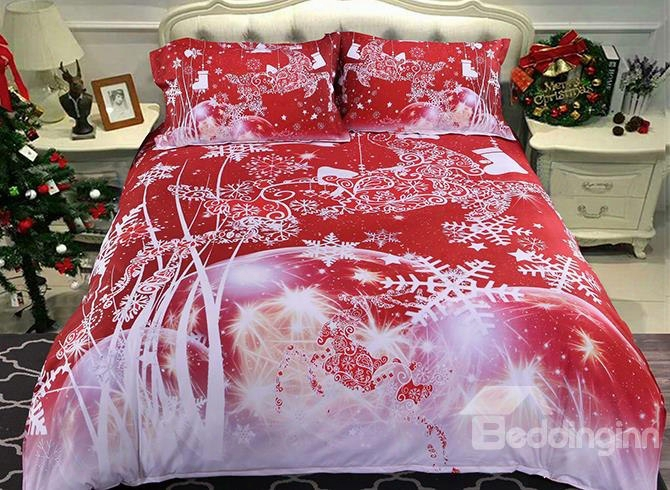 Onlwe 3d Christmas Reindeer And Snowflake Printed 5-piece Red Comforter Sets