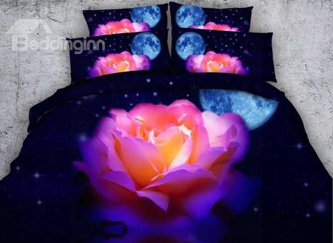 3d Colorful Rose With Moon Stars Printed Cotton 4-piece Bedding Sets/duvet Covers