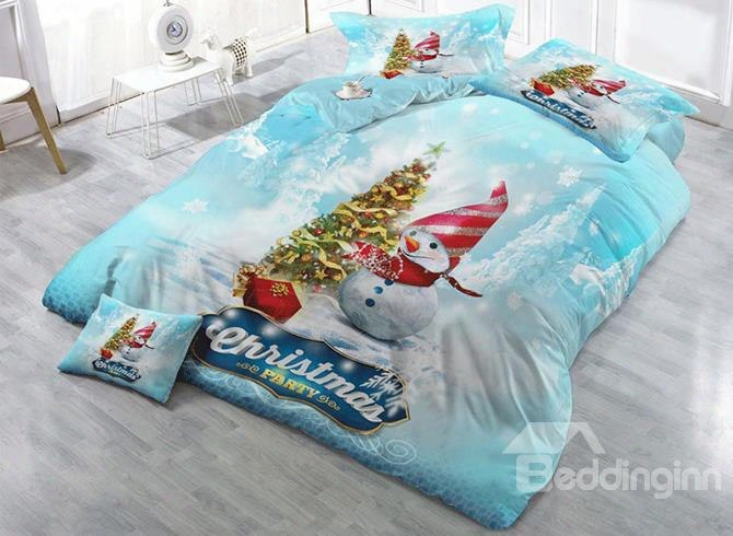 3d Snowman And Christmas Tree Printed Cotton 4-piece Bedding Sets/duvet Cover