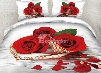 3D Red Roses with Pearl Necklace Printed Cotton 4-Piece Bedding Sets
