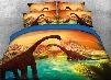 Onlwe 3D Brachiosaurus Dinosaurs Walking in Water Landscape 4-Piece Bedding Sets/Duvet Covers