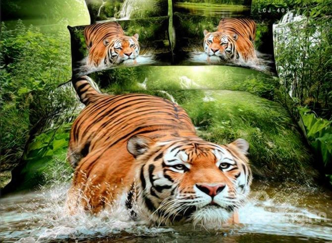 3d Tiger Jumping Into Wate Printed Cotton 4-piece Bedding Sets/duvet Covers