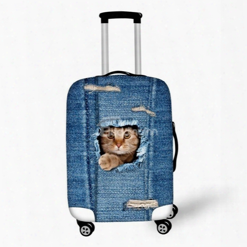 Lovely Cat Denim Pattern 3d Painted Luggage Protect Cover