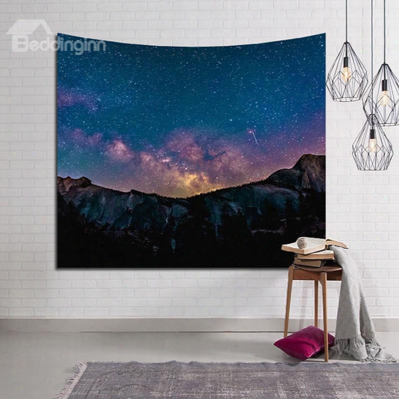Twinkle Galaxy Stars And Mountain Decorative Hanging Wall Tapestry