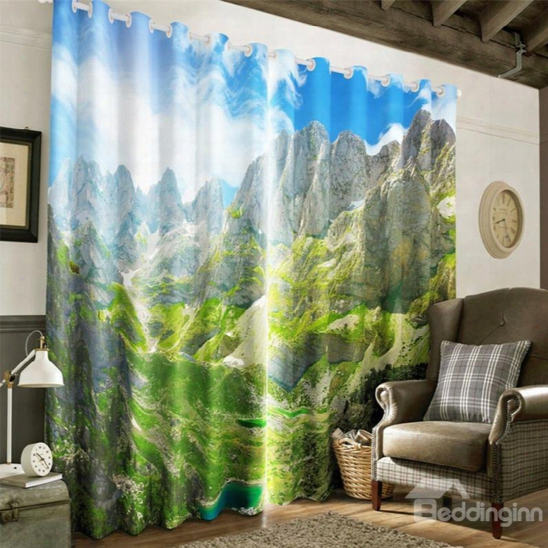 3d High And Rolling Mountains Printed 2 Panels Living Room And Bedroom Window Curtain