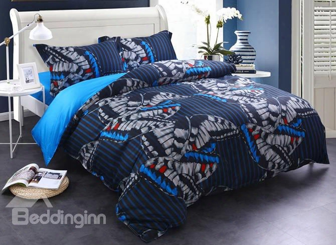 Adorila 60s Brocade Flying Butterflies With Stripes Texture Printed 4-piece Cotton Bedding Sets