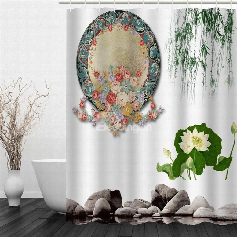 3d Mirror Flowers And Leaves Polyester Waterproof And Eco-friend Ly White Shower Curtain