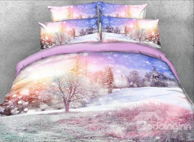 Onlwe 3d Winter Forest Printed 5-piece Comforter Sets