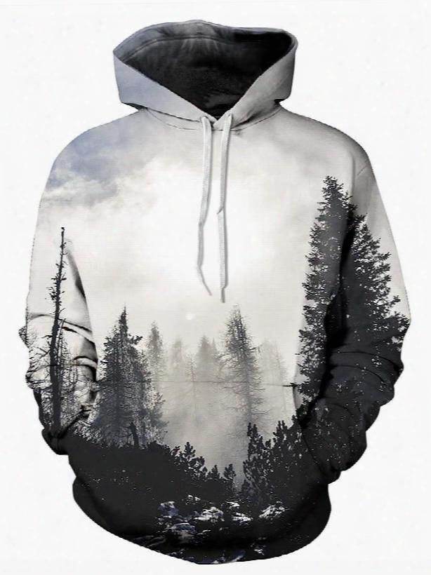 Special Long Sleeve Grey Trees Pattern Pocket 3d Painted Hoodie