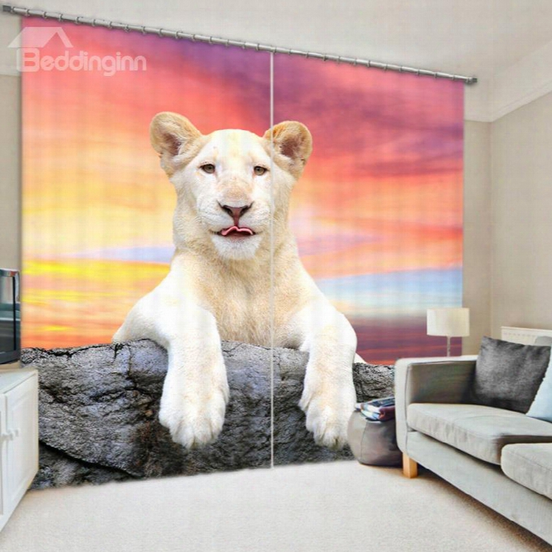 Vivid White Lion Lying On The Stone Bedroom And Living Rom Thick Polyester Curtain