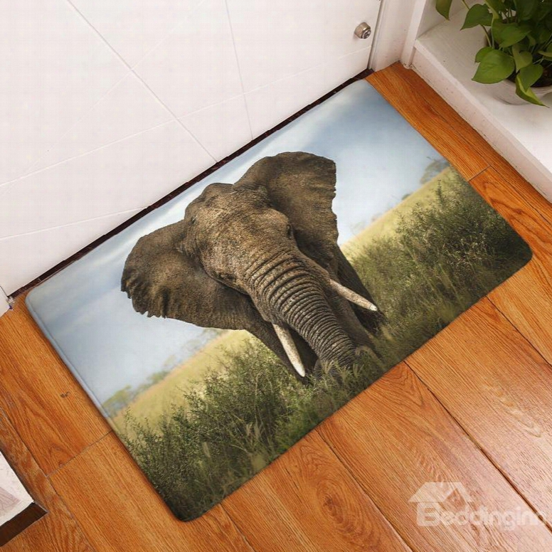 """16ãƒâ�""""24in Elephant In Field Flannel Water Absorption Soft And Nonslip Bath Rug/mat"""