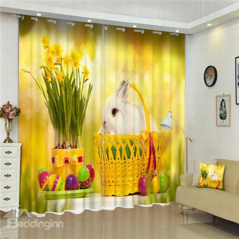 3d Lovely White Rabbit In Basket And Handsome Flowers Printed Living Room Custom Curtain