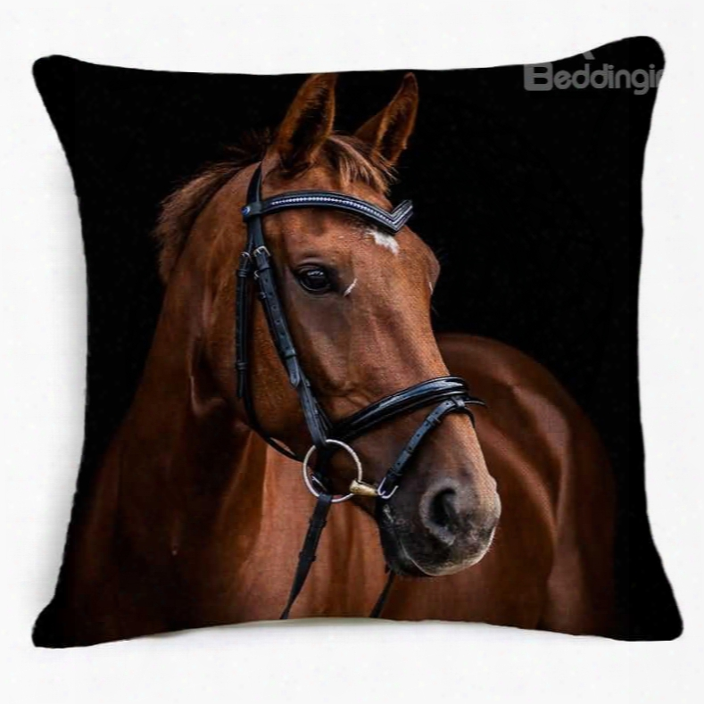 Awesome 3d Horse Printed Squwre Throw Pillow