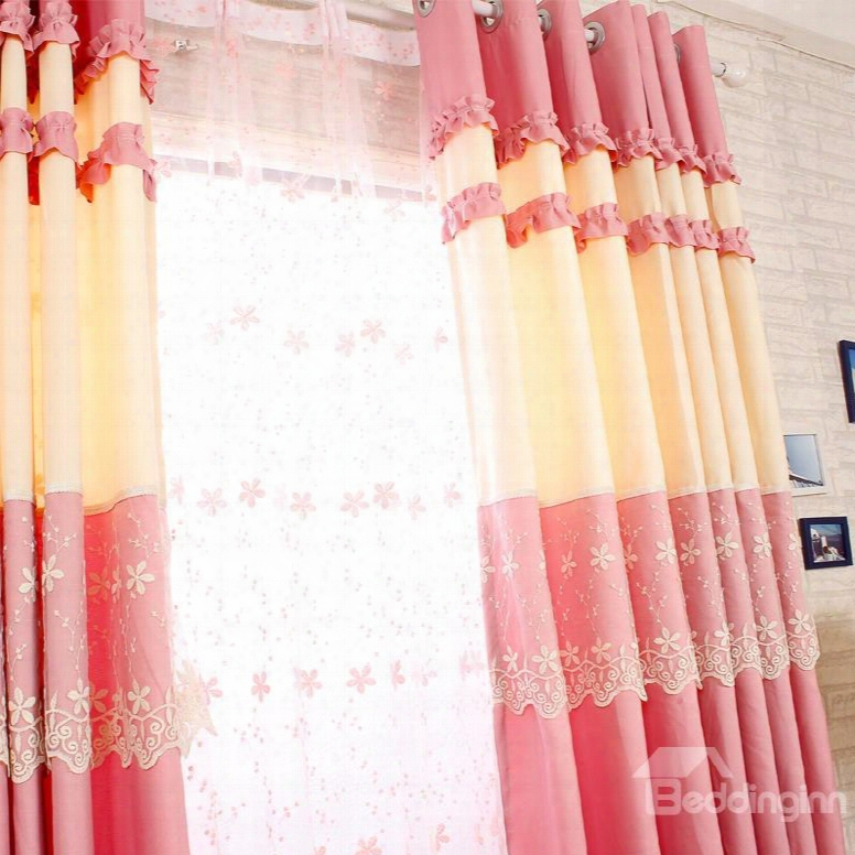 Decorative And Dust-proof Piink Color With Lace Princess Style 2 Panels Sheer Curtain