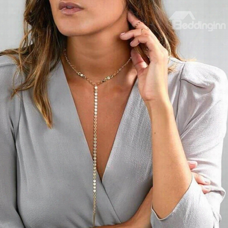 Golden Length Sexy Alloy Chain Choker In Favor Of Women&girls Necklace