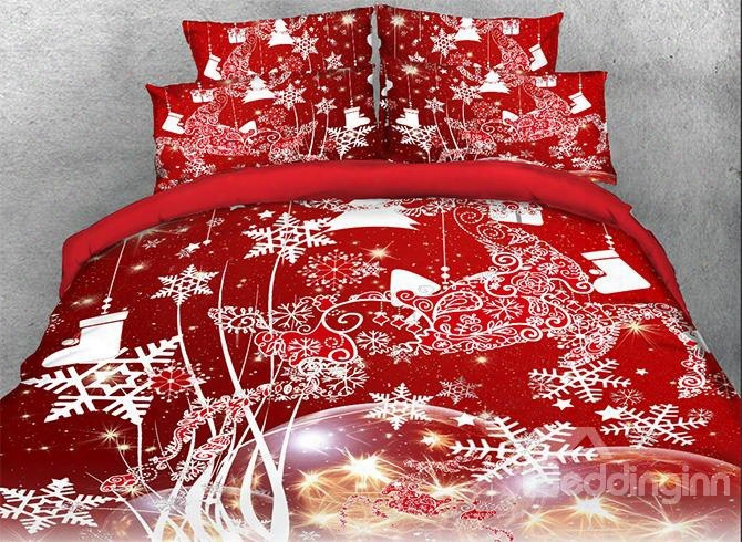 Onlwr 3d Christmas Reindeer And Snowflake Printed Cotton 4-piece Red Bedding Sets