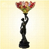 European Retro Tiffany Lamp the Statue of Liberty with Red Rose Bedroom Night Light