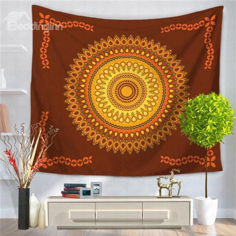Yellow Hippy Mandala Indian Pattern Ethnic Style Decorative Hanging W All Tapestry