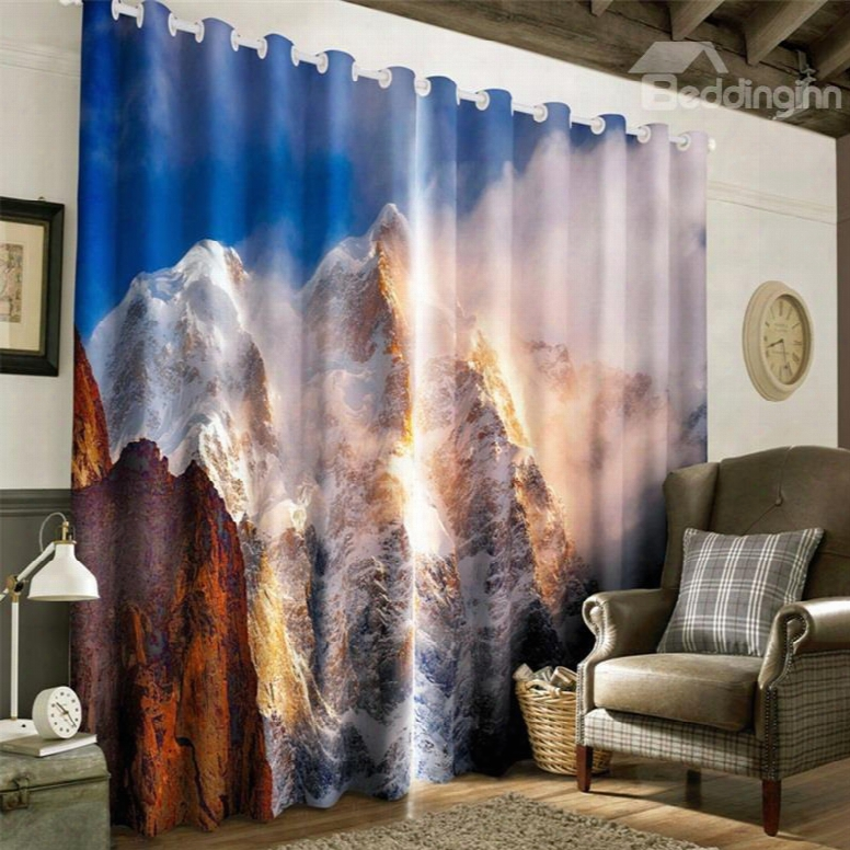 3d Rolling Ice Mountains Printed Room Darken Heat Insulated Living Room Currtain