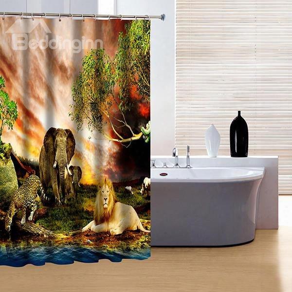 Elegant Lion Leopard And Elephant Print 3d Shower Curtain
