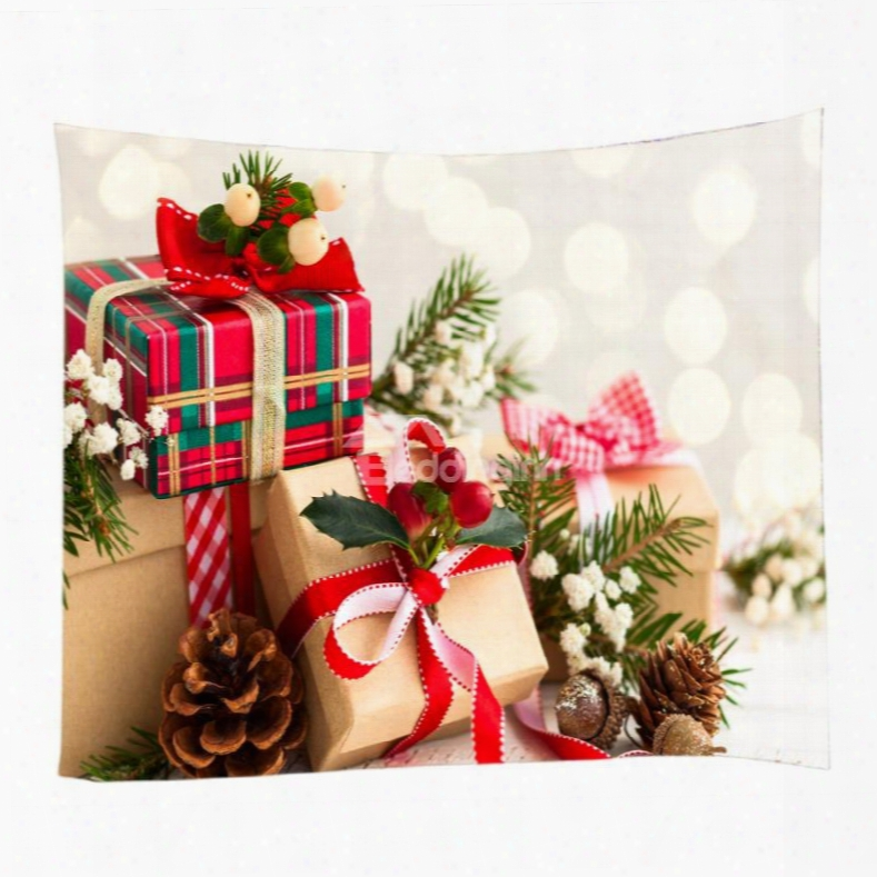 Well-prepared And Beautiful Christmas Gifts Pattern Decorative  Hanging Wall Tapestry
