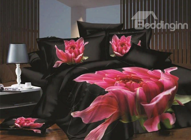 Fancy Pink Flower Blooming In Darkness Print 4-piece Polyester 3d Duvet Cover Sets