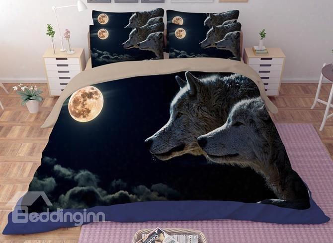 Unique Wolf Couple Print 4-piece Polyester Duvet Cover Sets