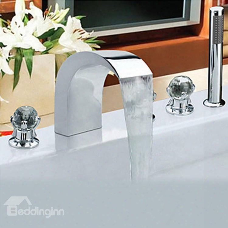 Contekporary Chrome Finish Stainless Steel Widespread Bathtub Faucets