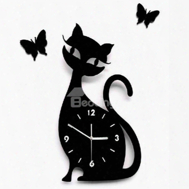 Modern Stylish Lovely Cat Design Wall Clock