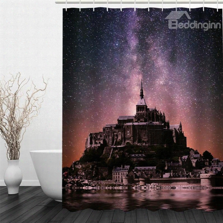 3d Castle In The Milky Way Pattern Polyester Waterproof Antibacterial Eco-friendly Shower Curtain