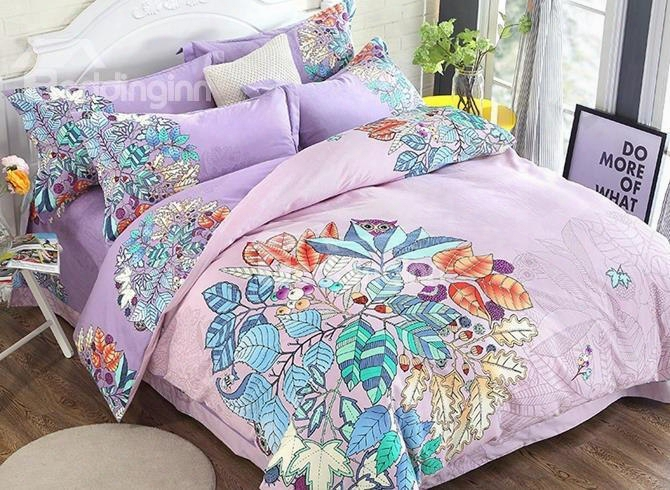 Chic Leaves Priint Princess Style Purple Cotton 4-piece Bedding Sets/duvet Cover