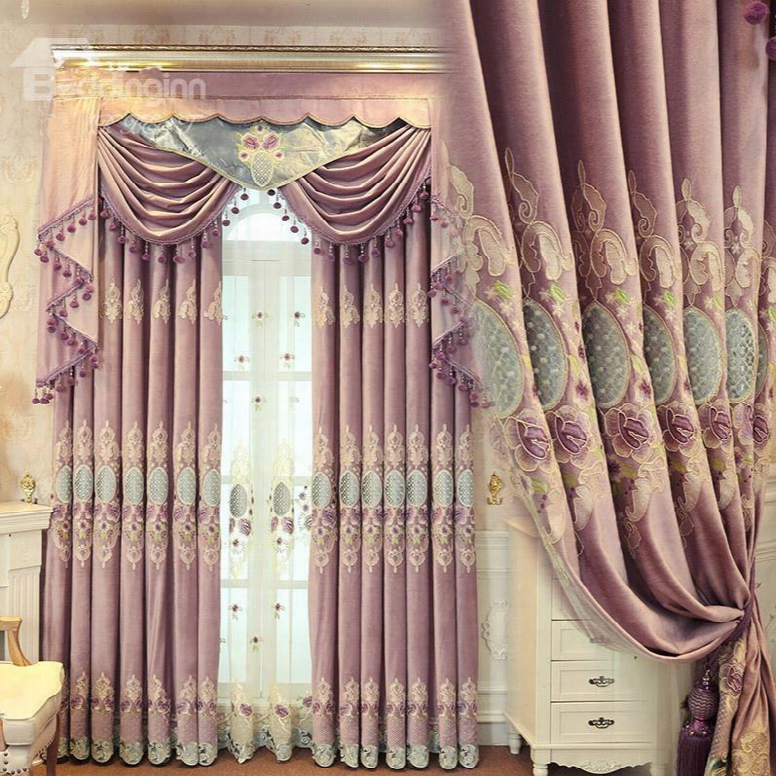 Concise And Modern Purple Embroidered Finished Curtain Living Room And Bedroom Curtain