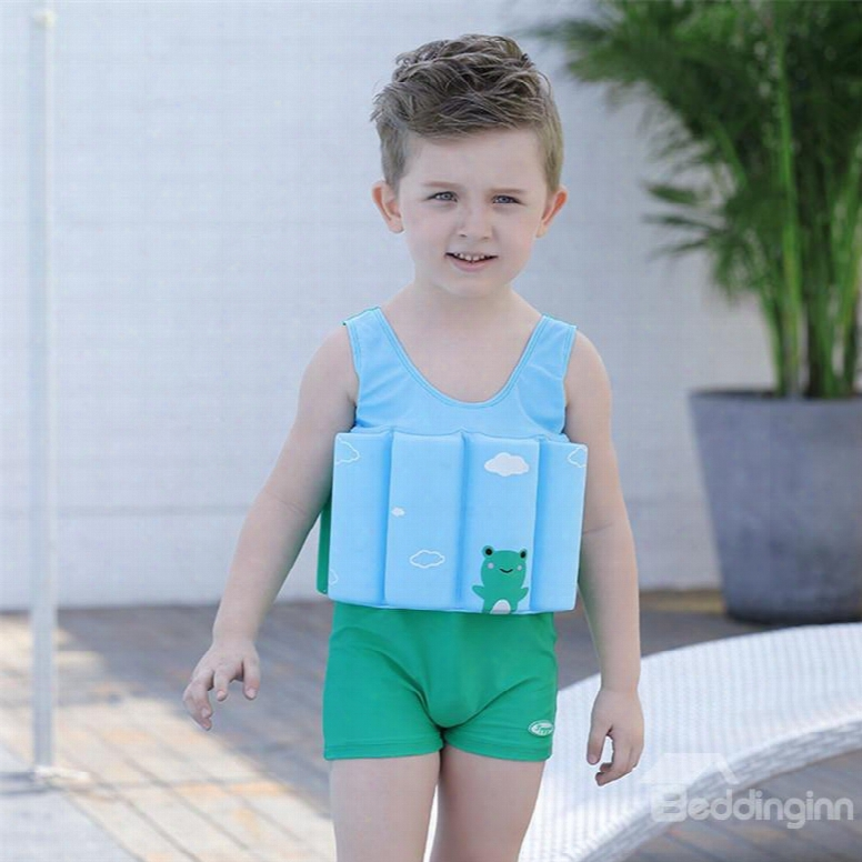 Float Frog Printed Polyester And Chinlon Afbrics Boys One Piece Swimsuit