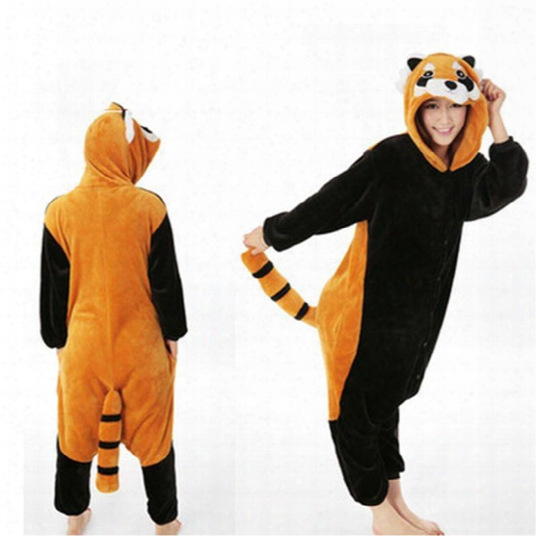 Halloween Lovely Raccoon Flannwl One-piece Stretchable Pajama Jumpsuit