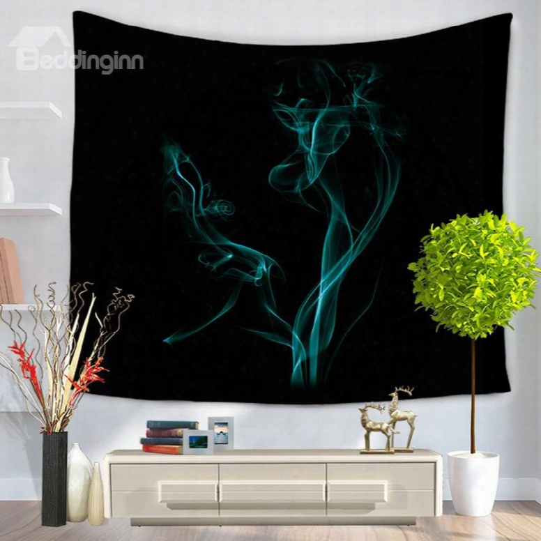 Plume Of Blue Smoke With Mourning Bottom Color Decorative Hanging Wall Tapestry