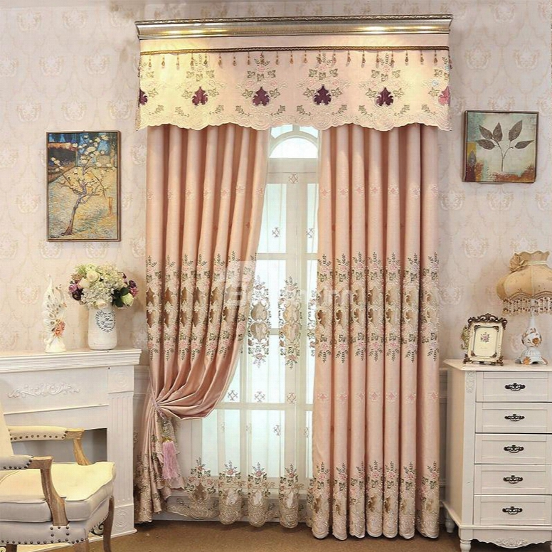 Romantic And Elegant Pink Hollowed-out Embroidered Flowers 2 Pieces Living Room Curtain