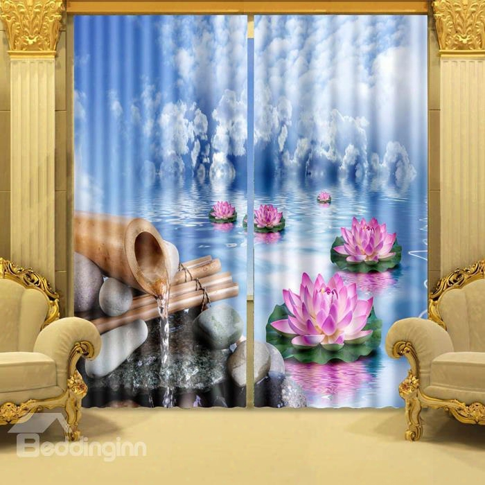 3d Wonderful Lotus Printed Thick Polyester Nature Scenery Custom Decorative Curtain