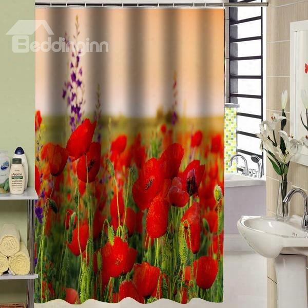 Colorful Flower Sea Design Bathroom Shower Curtain