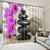 Wonderful Pink Flower and Stones Polyester Custom Living Room 3D Curtain