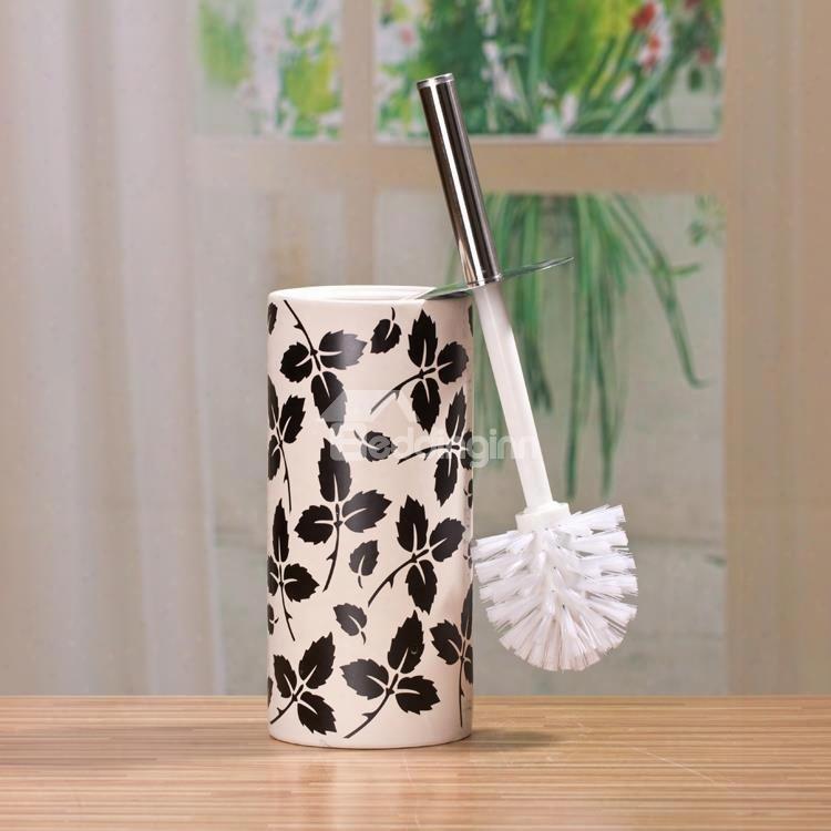 The Vase Type Suit Black And White Decorative Pattern Ceramic Toilet Brush Holder