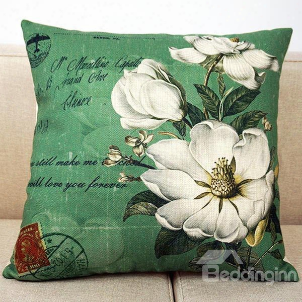 The White Flowers In Blossom Printing Throw Pillow