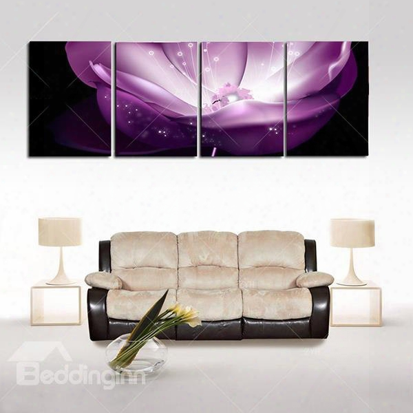 "16ãƒâ�""24inãƒâ�""4 Panels Purple Waterlily Hanging Canvas Waterproof And Eco-friendly Framed Prints"