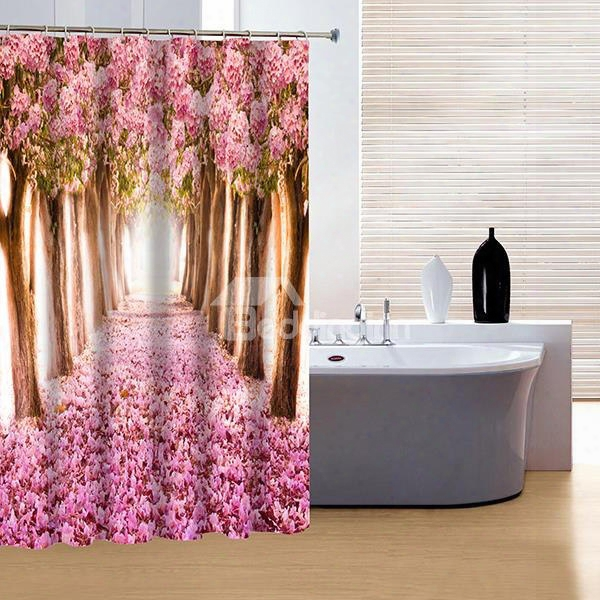 3d Pink Flowers And Trees Polyester Waterproof Antibacterial Eco-friendly Shower Curtain