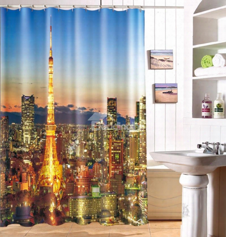 Charming Peaceful Night City Image 3d Shower Curtain