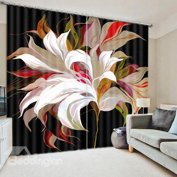 3d Creative Colored Blooming Flowers Printed Polyester Ctton 2 Panels Custom Floral Curtain