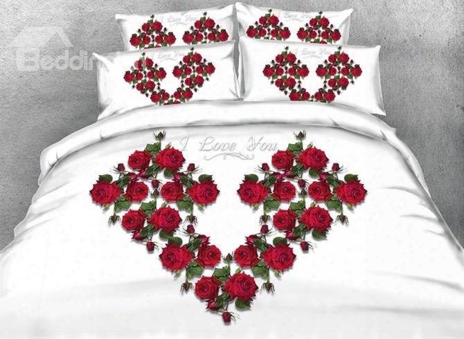 New Arrival Ed Flowers Heart Shape 5-piece Comforter Sets