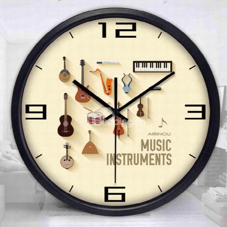 New Arrival Round Music Gitar Pattern Wall Clock