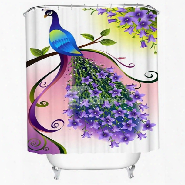 3d Peacock With Flower Tail Printed Polyester White Shower Curtain